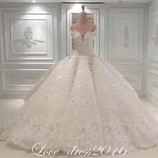 Luxury Shinning White/Ivory A-Line Wedding Dress Bridal Ball Gown Custom Plus28+