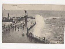 Vlissingen Boulevard Bij Storm Netherlands Vintage Postcard 328a ^