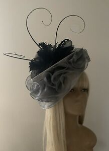 Women's Bespoke Design Black Silver Grey Hat Mother Bride Groom Weddings Ascot