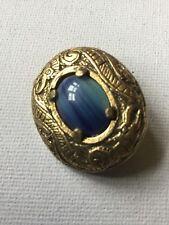 Vintage Miracle Brooch - Scottish Celtic, Blue glass Banded agate, signed