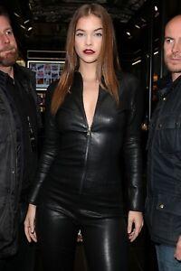 Barbara Palvin Genuine Leather Women Catsuit Jumpsuit Club wear Catsuit