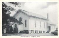 Madison Ohio~Methodist Church~Front & Side Entrances~Sign c1950 Postcard