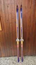 "Antique Wooden 70"" Long Hickory Skis + Bindings Signed Splitkein Original Finish"