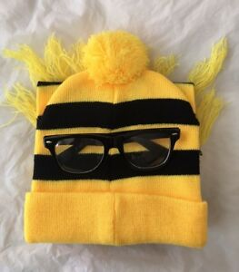 Yellow And Black Stripe Costume Set Hat Scarf Beanie Black Glasses