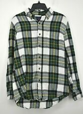 Saddlebred Men Green Plaid Flannel Long Sleeve Cotton Button Down Shirt Medium