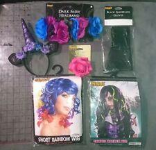 X6 LOT unicorn things! Wigs horn hooves gloves flower bow costume kit Halloween