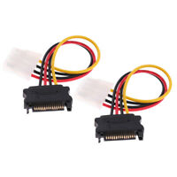 2x SATA Power Cable Adapter SATA 15 Pin Male Converter to LP4 Female