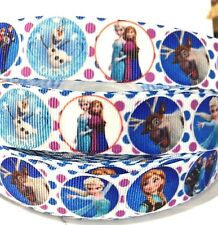 """Grosgrain Ribbon 7/8"""" Frozen Characters With Dots Printed Hairbows Usa Seller"""