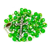 Rosary Beads with INRI Green Crystal Beaded from Jerusalem the Holy Land 20.5""