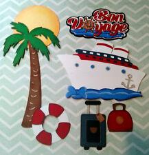 Bon Voyage Title and Paper Piecings 7 Piece Set Scrapbooks, Cards
