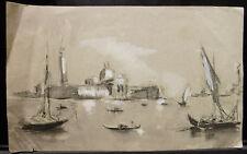 Aquarelle Originale PAUL COUVREUR Venise - île de San Giorgio vers 1930 - PC195
