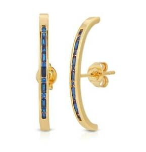 1 Ct Sapphire Baguette Suspension Curved Bar Hoops Earrings 14k Yellow Gold Over