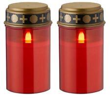 2 Stück Wofi LED Grablichter Flackerndes Kerzenlicht Mit Batterie Rot