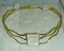 Authentic LALIQUE Masque de Femme Crystal Goldplated Necklace in Pouch + Box
