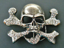 Skull Bling Belt Buckle Rhinestones Pirate Shiny Cross Bones Boucle de Ceinture