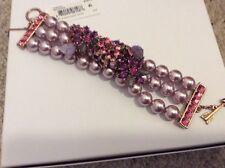 Betsey Johnson  Rose GoldTone Faux Pearl Floral Fall Follies Bracelet BJF7