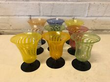 Bimini Werkstatte Lauscha Deco Set 9 Cocktail Tumbler Glasses Swirl Ribbon Dec