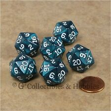 NEW Set of 6 Pearlized Emerald Green D20 Dice RPG D&D Game Twenty Sided Die