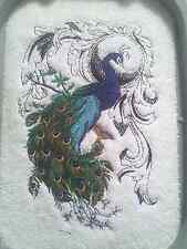 PEACOCK FLOURISH STUNNING SET OF 2 BATH HAND TOWELS EMBROIDERED BY LAURA