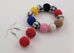 Elastic Woven & Crochet Beads Bracelet & Earrings Iron Hooks Kids Jewellery Set