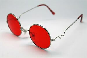 RED ROUND SUN GLASSES SILVER FRAMES TRIGUN VAMPIRE COSPLAY STEAM PUNK HIPPIE