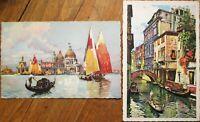 Pair Italian 1930s Art Deco Art Postcards - Venice, Italy Scenes