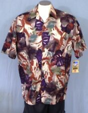 Hilo Hattie Multi-color Large Hawaiian Shirt Abstract Leaves Cotton Lawn