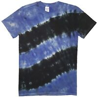 Black Blue TIE DYE T SHIRT Fashion Tye Die Tshirt Festival Retro Rainbow Spiral