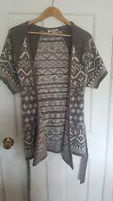 Arden B Open Front Sweater Cardigan Short Sleeve Wrap Gray White Geo Print