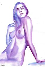 original drawing A3 309BK art samovar watercolor grisaille female nude 2020