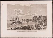 1880 - Gravure : Baie de Panama. Vieilles murailles. (Canal du Panama, Darien)