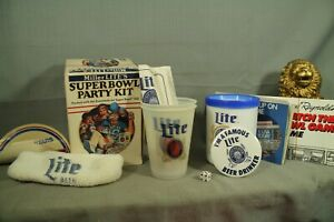 vintage Miller LIte's Super Bowl XXI Party Kit cups game record button headband