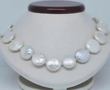 """Rare Huge 11-12mm Natural White Freshwater Pearl Coin Beads Necklace 18""""AAA++"""