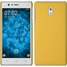 Hardcase Nokia 3 rubberized yellow Cover + protective foils