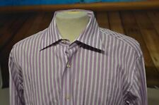 Etro Sz 44 Long Sleeve Button Front Shirt Spread Col White Purple Striped Italy