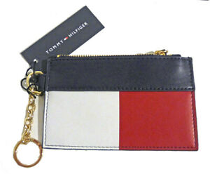Tommy Hilfiger Color Block Zip ID Coin Purse w/ Key Chain, Men or Women