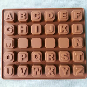 30 Cavity Silicone Alphabet A-z Mould Tray Ice Soap Chocolate Mold Baking Jelly