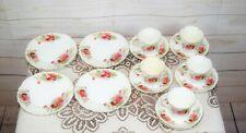 Antique Victorian Rose Pattern Fine Bone China Tea Cups, Saucers Side Tea Plates