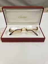Vintage Cartier Womens Eye Glasses Rubies Gold Frame