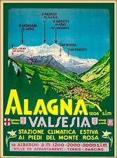 Alagna Valsesia  Italy Alpine Ski Vintage Travel Advertisement Art Poster  Print