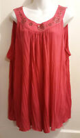 Long Pink Pleated Sleeveless Top by French Laundry - Plus Size 18/20