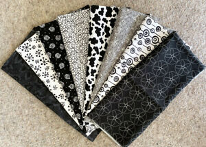 Moda, Makower etc Fat 1/8 pack - 1 metre - black and whites.  Patchwork
