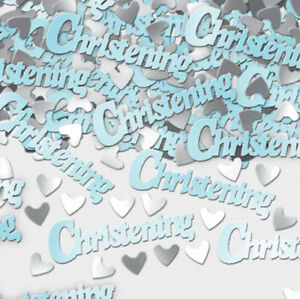 Blue Christening Table Confetti Sprinkles Party Decorations