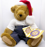 Vtg Vermont Teddy Bear Company 1983 Jointed Christmas Bear Jeans~Santa Hat
