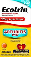 Ecotrin Regular Strength,325 Mg, Safety Coated Aspirin-Pain Reliever, 300 Tabs