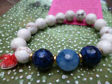 Love Noel Handmade Agate Stone Bracelet Blue Elasticated Motif Gift Jewellery
