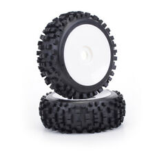 1:8th Block Tyres On White Dish Wheels x 2 Core RC BW2001 Buggy Wheels 17mm  Hex