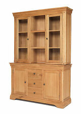 French Rustic Oak Solid Chunky Wood Large Dresser Display Cabinet Cupboard Unit