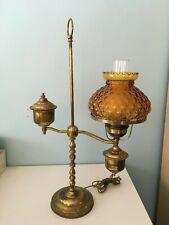 FENTON - BRASS STUDENT LAMP W/ AMBER GLASS GLOBE