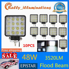 10X 48W LED Work Light Flood Truck Driving Fog Lamp Square 4WD Jeep Boat 4INCH